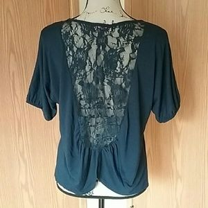 Large Blue Lace Back Almost Famous 1/2 Sleeve Top